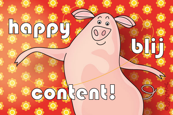 Kaart: Happy blij content!